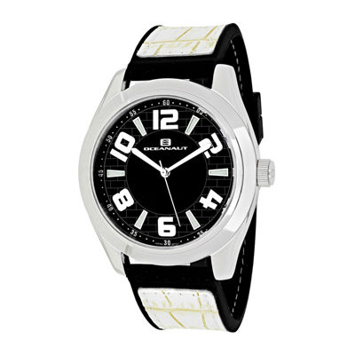 Oceanaut Vault Mens Black Dial White Strap Watch