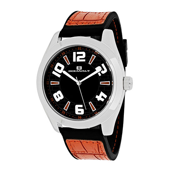 Oceanaut Vault Mens Black Dial Orange Strap Watch