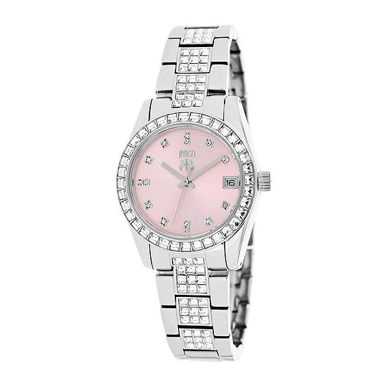 Jivago Magnifique Womens Pink Dial Stainless Steel Bracelet Watch