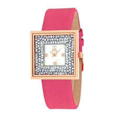 Jivago Brilliance Womens White Dial Pink Strap Watch