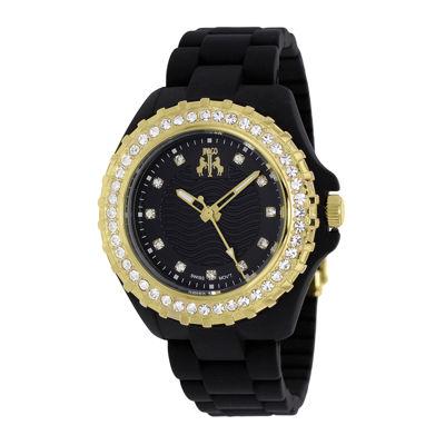 Jivago Cherie Womens Black Dial Gold-Tone Bezel Bracelet Watch