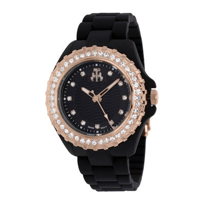Jivago Cherie Womens Black Dial Rose-Tone Bezel Bracelet Watch