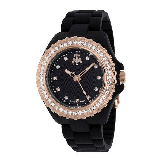 Jivago Cherie Womens Black Dial Rose-Tone Bezel Bracelet Watch
