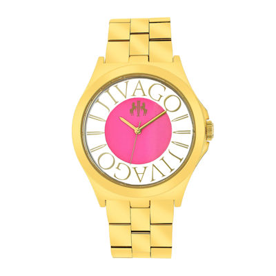 Jivago Fun Womens Pink & Rose-Tone Stainless Steel Bracelet Watch