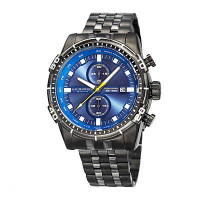 Akribos XXIV Extremis Mens Blue Dial and Gray Stainless Steel Watch