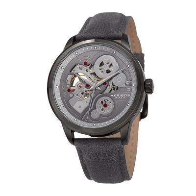 Akribos XXIV Mens Gray Leather Strap Watch