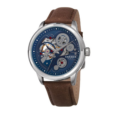 Akribos XXIV Mens Blue Dial Brown Leather Strap Watch