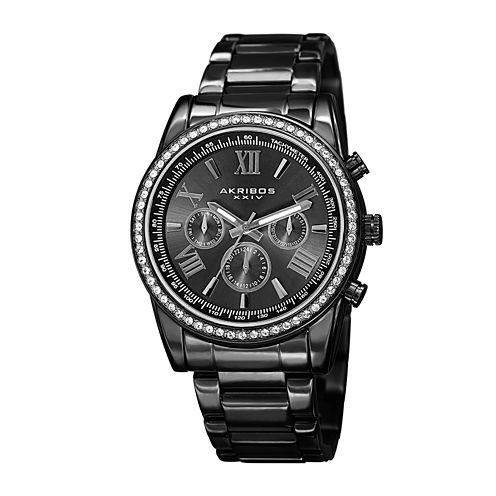 Akribos XXIV Mens Black Stainless Steel Watch