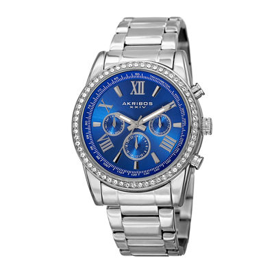 Akribos XXIV Mens Blue Dial Silver-Tone Stainless Steel Watch
