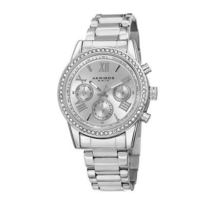 Akribos XXIV Womens Silver-Tone Lux Bracelet Watch