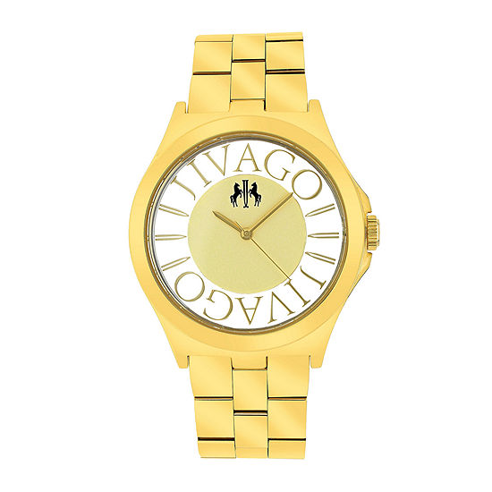 Jivago Womens Gold Tone Stainless Steel Bracelet Watch