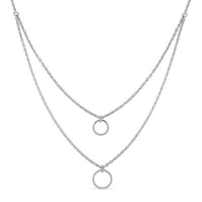 1/10 CT. T.W. Diamond Sterling Silver Double Strand Pendant Necklace