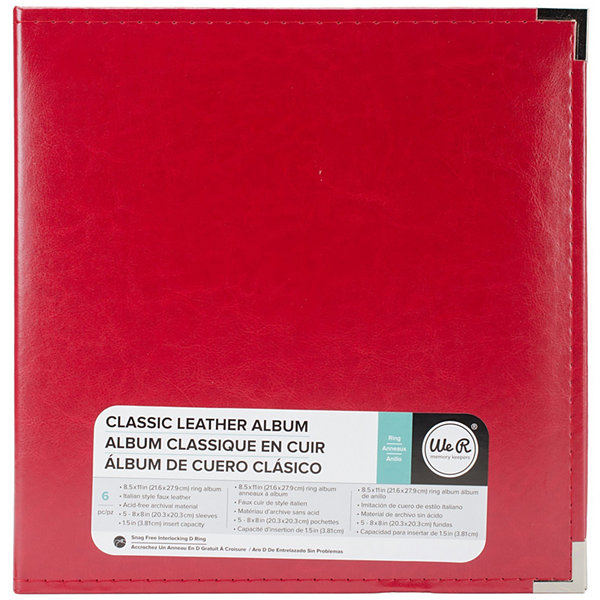 "We R Memory Keepers® 5-Ring 8.5x11"" Leather Real Red Album"