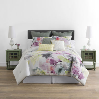 jcpenney home™ watercolor floral 4-pc. comforter set & accessories