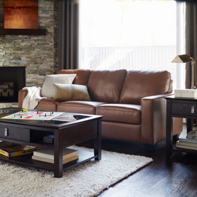 Leather Possibilities Track-Arm Sofa