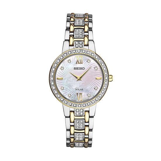Seiko Crystal Womens Diamond Accent Two Tone Stainless Steel Bracelet Watch-Sup360