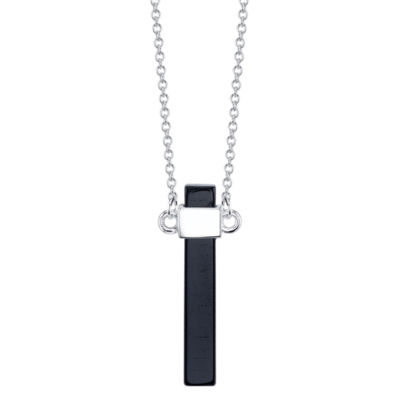 Bridge Jewelry Womens Black Silver Over Brass Pendant Necklace