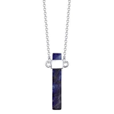Bridge Jewelry Womens Blue Silver Over Brass Pendant Necklace
