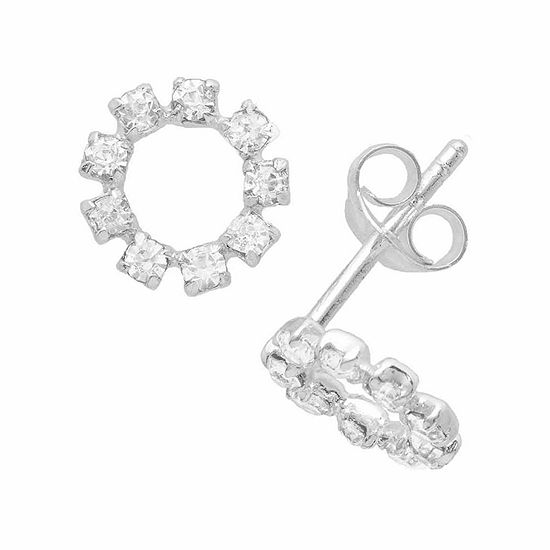 Itsy Bitsy Crystal Sterling Silver 8.8mm Stud Earrings