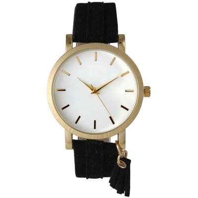Olivia Pratt Tassle Charm Womens Black Strap Watch-15984