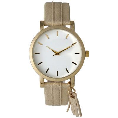 Olivia Pratt Tassle Charm Womens Brown Strap Watch-15984