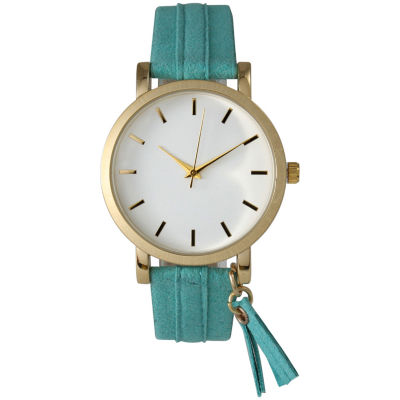 Olivia Pratt Tassle Charm Womens Green Strap Watch-15984