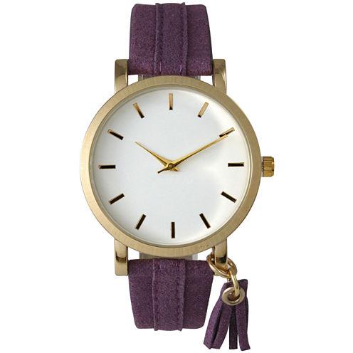 Olivia Pratt Tassle Charm Womens Purple Strap Watch-15984