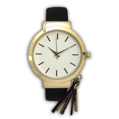 Olivia Pratt Tassle Charm Womens Black Bangle Watch-16120