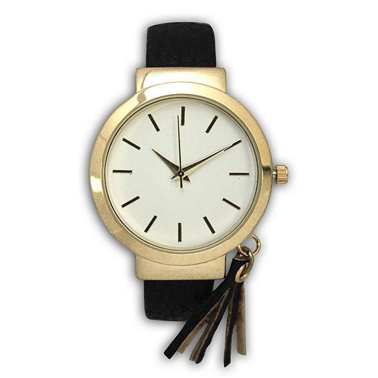 Olivia Pratt Tassle Charm Womens Black Bangle Watch-16120