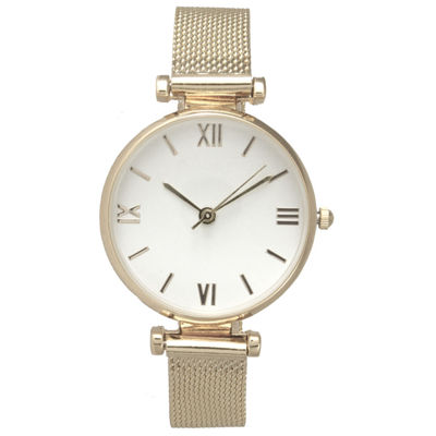 Olivia Pratt Mesh Womens Gold Tone Strap Watch-16245
