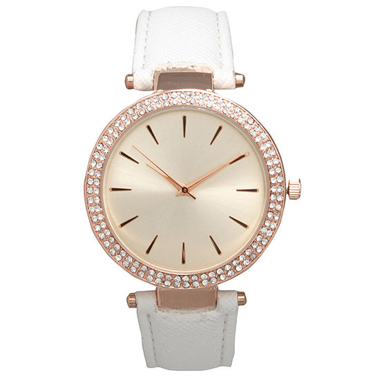 Olivia Pratt Womens Crystal Accent White Strap Watch-16257