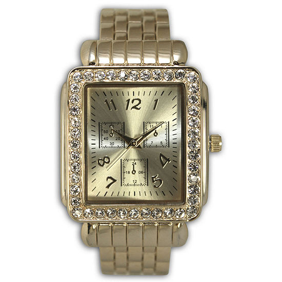 Olivia Pratt Womens Crystal Accent Gold Tone Stainless Steel Bangle Watch-16645