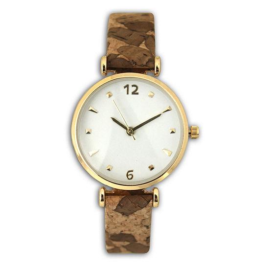 Olivia Pratt Cork Womens Brown Strap Watch-60000