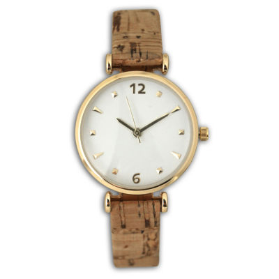 Olivia Pratt Cork Womens Brown Strap Watch-60000