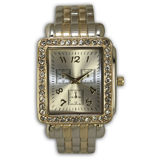 Olivia Pratt Womens Crystal Accent Two Tone Stainless Steel Bangle Watch-16645