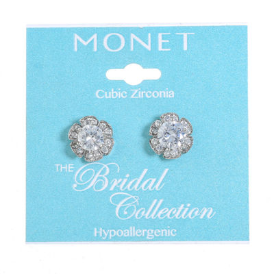 Monet Jewelry The Bridal Collection Clear 13mm Stud Earrings