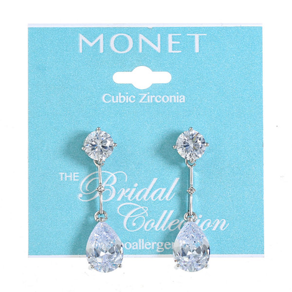 Monet Jewelry The Bridal Collection Clear Drop Earrings