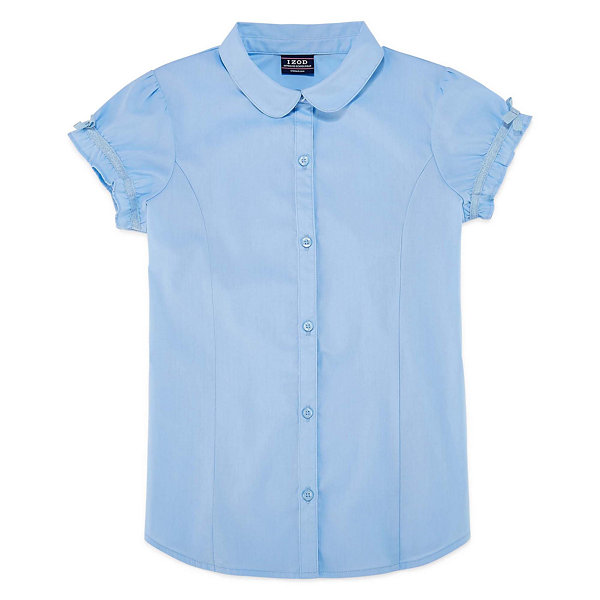 Izod Exclusive Short Sleeve Button-Front Shirt Girls Plus