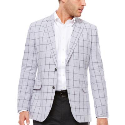 Stafford Linen Cotton Quiet Charcoal Windowpane Sport Coat-Slim