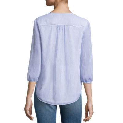 St. John's Bay 3/4 Sleeve Peasant Top
