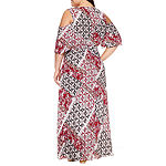 Boutique + Cold Shoulder Woven Maxi Dress-Plus