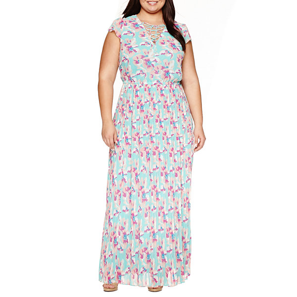 Ashley Nell Tipton for Boutique + Sleeveless Laceup Maxi Dress - Plus