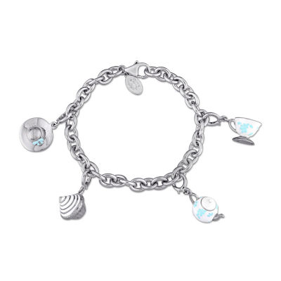 Laura Ashley Tea Party Collection Womens 4-pc. White Sapphire Sterling Silver Bracelet Set