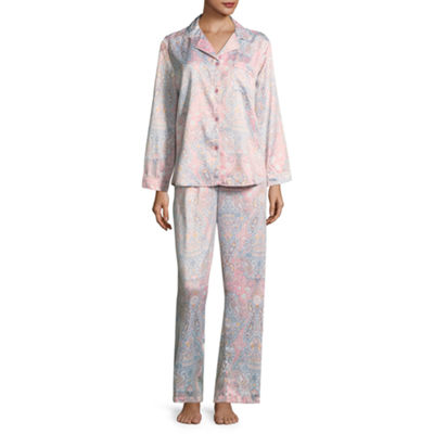 Collette by Miss Elaine Brushback Satin Notch Collar Pant Pajama Set