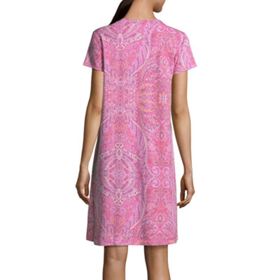 Collette By Miss Elaine Womens Knit Nightgown Short Sleeve V Neck