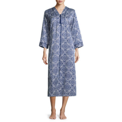 Collette By Miss Elaine Brushback Satin Zip Front Nightgown