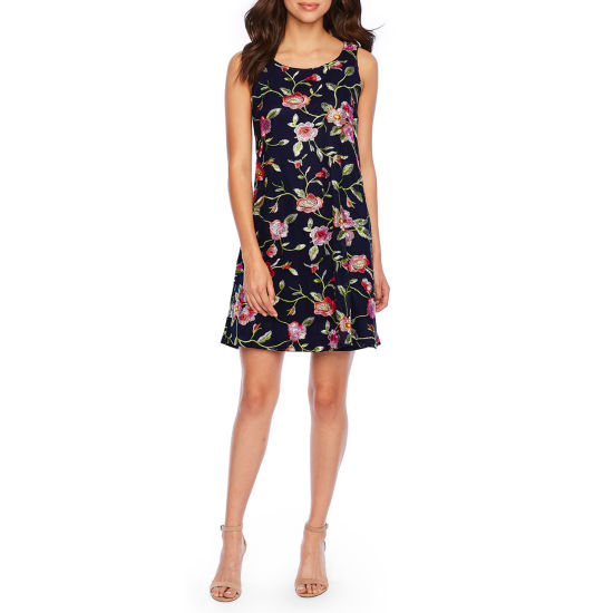 Robbie Bee Sleeveless Embroidered Trapeze Dress