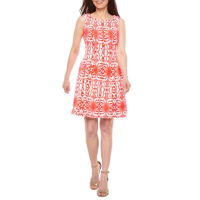 Danny & Nicole Sleeveless Scroll Fit & Flare Dress-Petite