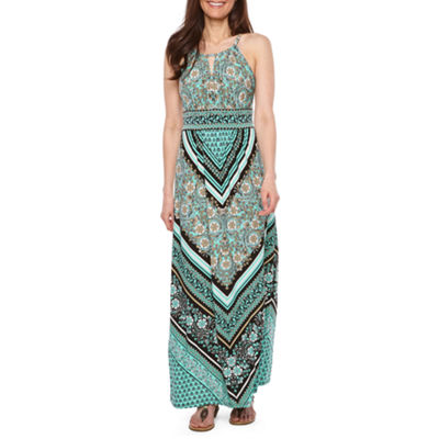 London Times Sleeveless Pattern Maxi Dress-Petite