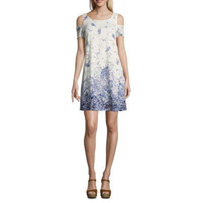 Robbie Bee Short Sleeve Floral A-Line Dress-Petite